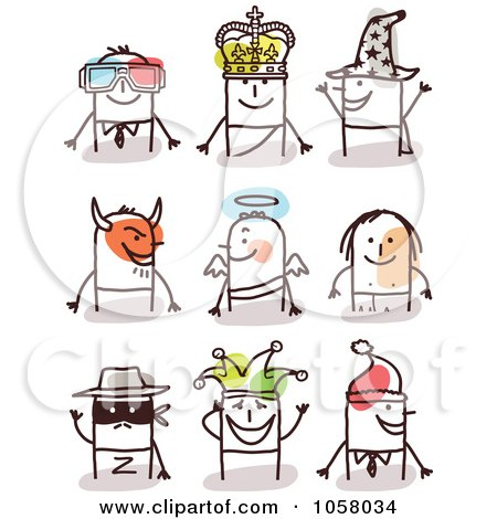 Royalty-Free Vector Clip Art Illustration of a Digital Collage Of Stick Men In Costumes by NL shop