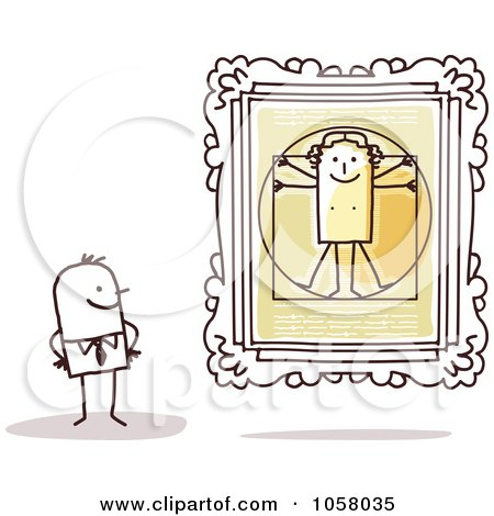Royalty-Free Vector Clip Art Illustration of a Stick Man Viewing The Vitruvian Man In An Art Gallery by NL shop