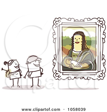 Royalty-Free Vector Clip Art Illustration of a Stick Couple Viewing The Mona Lisa In An Art Gallery by NL shop