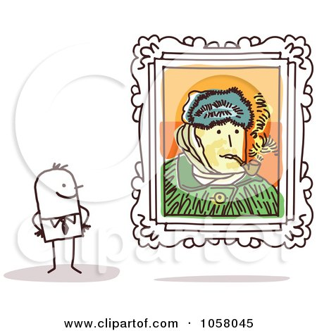 Royalty-Free Vector Clip Art Illustration of a Stick Man Viewing A Van Gogh Self Portrait In An Art Gallery by NL shop