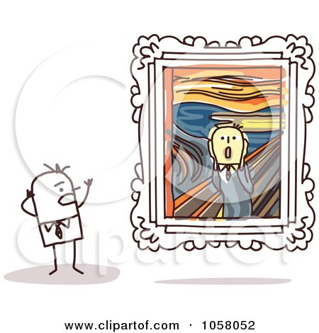 Royalty-Free Vector Clip Art Illustration of a Stick Man Viewing The Scream In An Art Gallery by NL shop