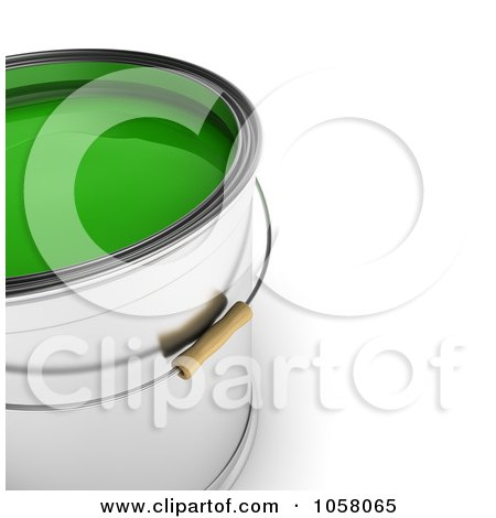 Royalty-Free CGI Clip Art Illustration of a 3d Bucket Of Green Paint by stockillustrations
