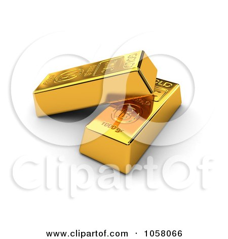 Royalty-Free CGI Clip Art Illustration of Two 3d Golden Bullion Bars by stockillustrations