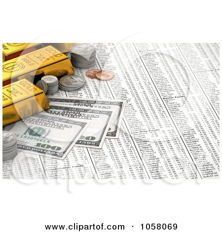 Royalty-Free CGI Clip Art Illustration of a 3d Golden Bullion Bars, Coins And Hundred Dollar Bills On A Stock Chart by stockillustrations