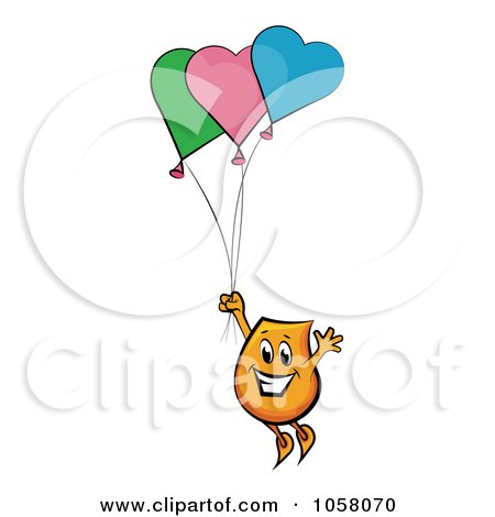 Royalty-Free Vector Clip Art Illustration of an Orange Blinky Floating Away With Heart Balloons by MilsiArt