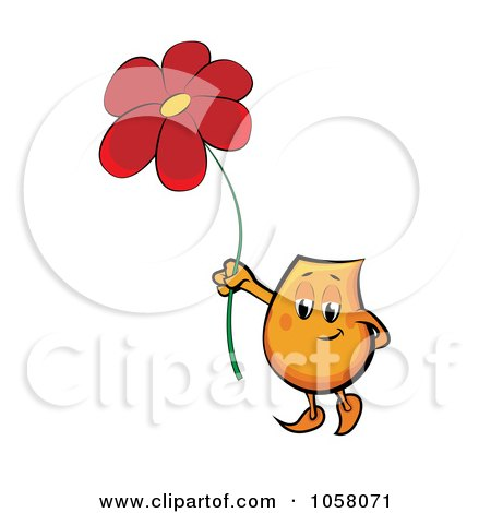 Royalty-Free Vector Clip Art Illustration of an Orange Blinky Holding Up A Red Daisy by MilsiArt
