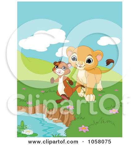 Royalty-Free Vector Clip Art Illustration of a Happy Little Lion Following A Ferret To A Pond by Pushkin