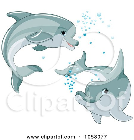 Royalty-Free Vector Clip Art Illustration of Two Cute Dolphins Swimming With Bubbles by Pushkin