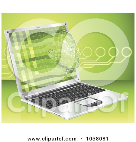 Royalty-Free Vector Clip Art Illustration of a 3d Virtual Face Emerging From A Laptop by AtStockIllustration