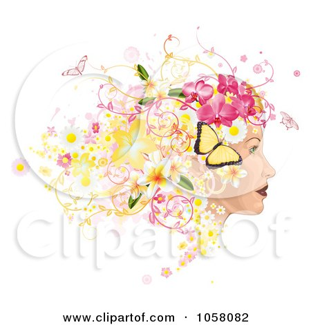 Royalty-Free Vector Clip Art Illustration of a Profiled Woman's Face With Floral, Butterfly And Grunge Hair by AtStockIllustration