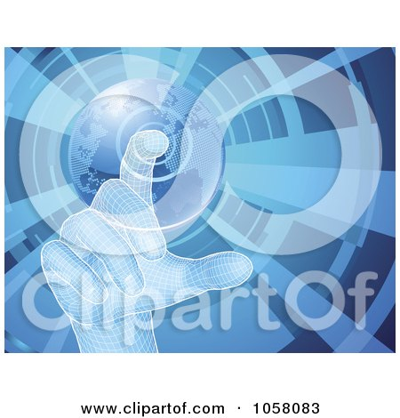 Royalty-Free Vector Clip Art Illustration of a 3d Virtual Hand Selecting A Globe Button, On Blue by AtStockIllustration