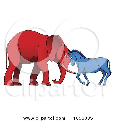 Royalty-Free Vector Clip Art Illustration of a Democratic Donkey And Republican Elephant Facing Off by AtStockIllustration