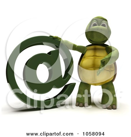 Royalty-Free CGI Clip Art Illustration of a 3d Tortoise With An Email Symbol by KJ Pargeter