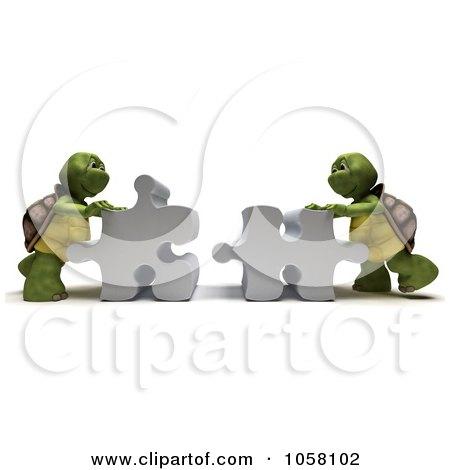 Royalty-Free CGI Clip Art Illustration of 3d Tortoises Assembling A Puzzle by KJ Pargeter