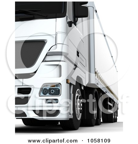 Royalty-Free CGI Clip Art Illustration of a 3d White Euro Big Rig Truck - 1 by KJ Pargeter