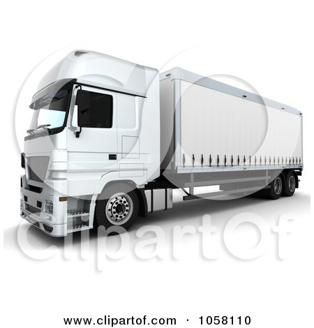 Royalty-Free CGI Clip Art Illustration of a 3d White Euro Big Rig Truck - 2 by KJ Pargeter