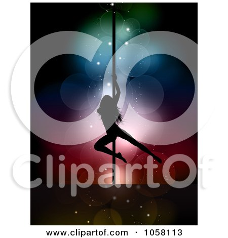 Royalty-Free Vector Clip Art Illustration of a Silhouetted Pole Dancer Over Colorful Lights by KJ Pargeter