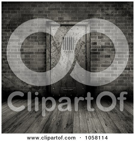 Wall  on Clip Art Illustration Of A Grungy 3d Prison Cell Door In A Brick Wall