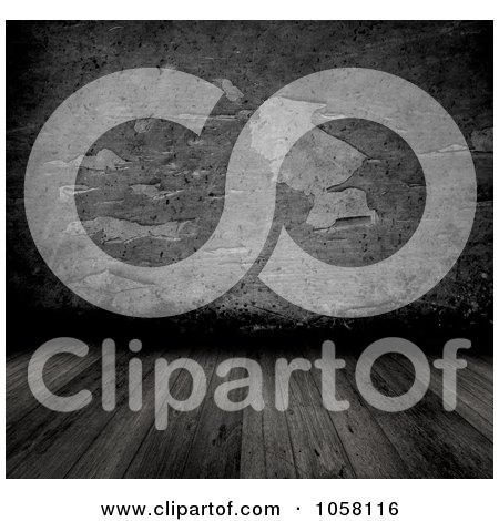 Royalty-Free CGI Clip Art Illustration of a 3d Wooden Floor With Peeling Grungy Cement Wall by KJ Pargeter