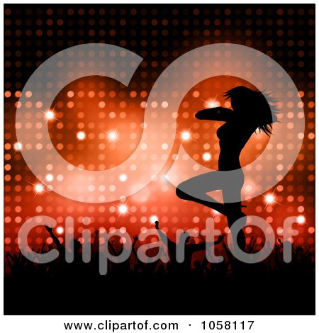 Royalty-Free Vector Clip Art Illustration of a Crowd Cheering On A Sexy Silhouetted Female Dancer Over Red Lights by KJ Pargeter