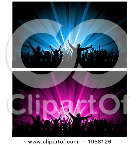 Royalty-Free Vector Clip Art Illustration of a Digital Collage Of Blue And Pink Crowd Website Banners by KJ Pargeter