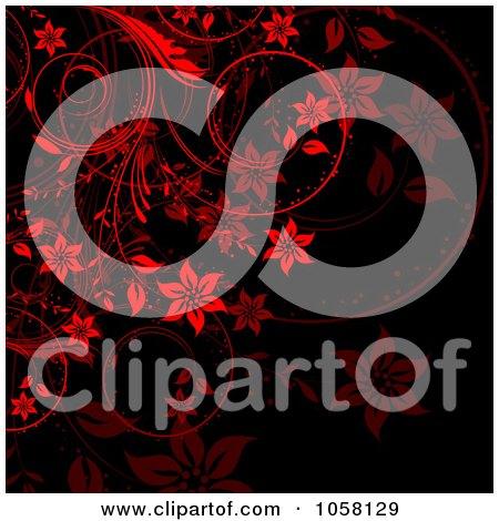 Royalty-Free Vector Clip Art Illustration of an Ornate Red Floral Vine Over Black by KJ Pargeter