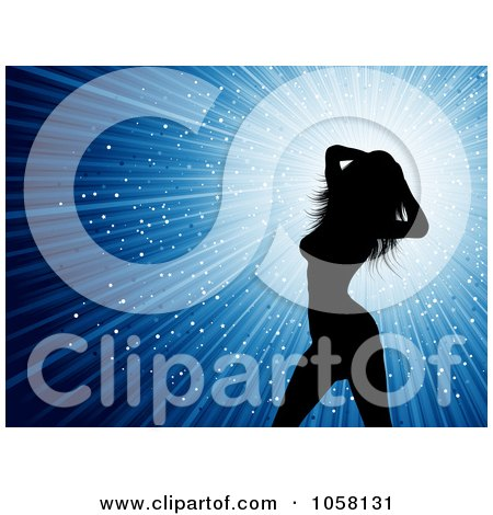 Royalty-Free Vector Clip Art Illustration of a Sexy Silhouetted Female Dancer Over Blue Rays by KJ Pargeter