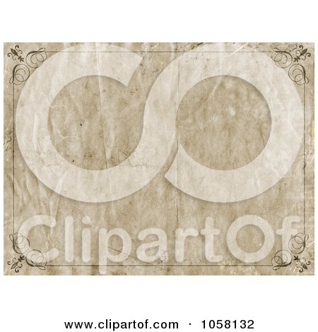 Royalty-Free CGI Clip Art Illustration of a Wrinkled Grungy Frame Paper Background by KJ Pargeter