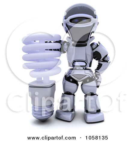 Royalty-Free CGI Clip Art Illustration of a 3d Robot With A Fluorescent Light Bulb by KJ Pargeter