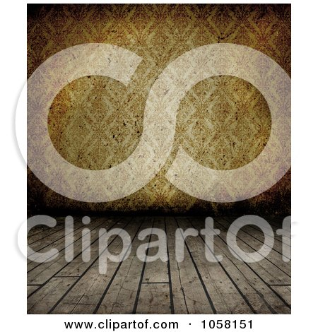 Royalty-Free CGI Clip Art Illustration of a Grungy Wood Floor Leading To Brown Wallpaper by KJ Pargeter