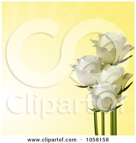 Royalty-Free Vector Clip Art Illustration of Ivory Roses On A Fading Yellow Background by elaineitalia
