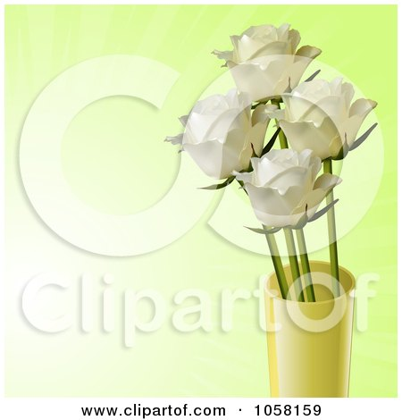 Royalty-Free Vector Clip Art Illustration of Ivory Roses In A Yellow Vase On A Fading Green Background by elaineitalia