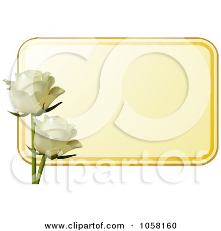 Royalty-Free Vector Clip Art Illustration of a Yellow Label With Two Ivory Roses by elaineitalia