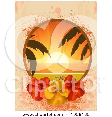 Royalty-Free Vector Clip Art Illustration of a Tropical Sunset Frame With Red And Yellow Hibiscus Flowers Over Pastel Grunge by elaineitalia