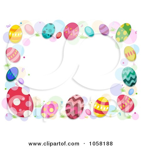 easter frame of colorful eggs and dots - Easter Photo Frames