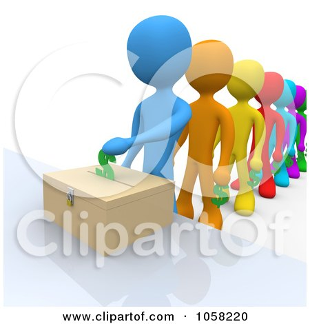 Royalty-Free CGI Clip Art Illustration of 3d Diverse People Donating Funds by 3poD