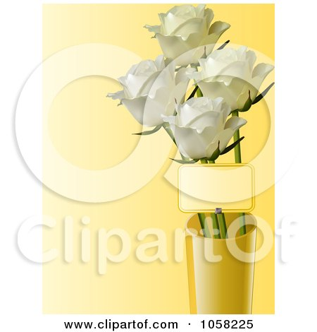 Royalty-Free Vector Clip Art Illustration of a Vase Of White Roses And A Tag by elaineitalia