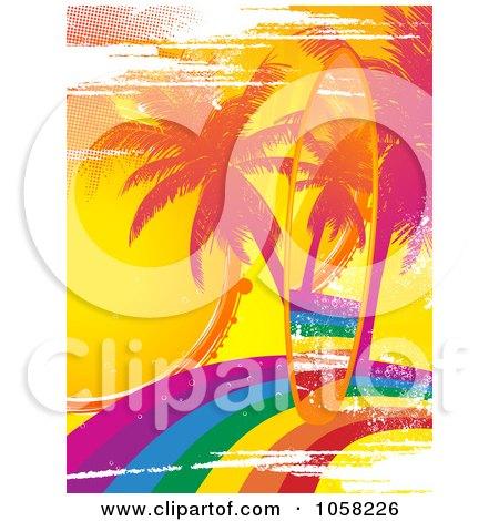 Royalty-Free Vector Clip Art Illustration of a Grungy Rainbow Surfboard On A Matching Palm Tree Rainbow Scene by elaineitalia