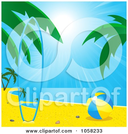 Royalty-Free Vector Clip Art Illustration of a Matching Surf Board On A Tropical Beach, By A Ball by elaineitalia