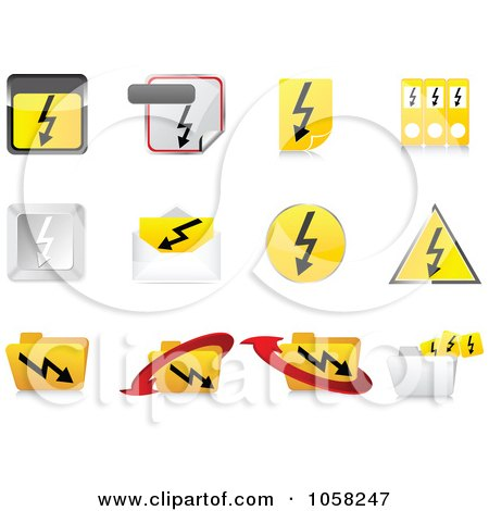 Royalty-Free Vector Clip Art Illustration of a Digital Collage Of 3d Electric Icon Design Elements by Andrei Marincas