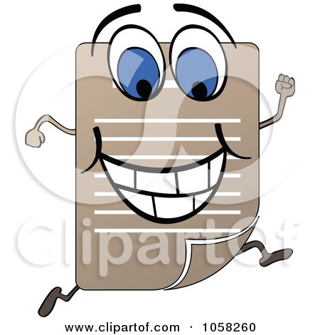 Royalty-Free Vector Clip Art Illustration of a Running Document Character by Andrei Marincas