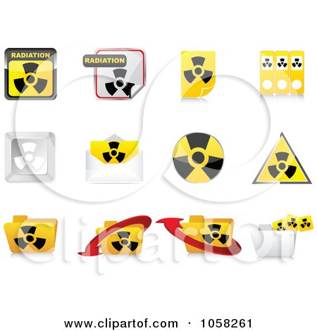 Royalty-Free Vector Clip Art Illustration of a Digital Collage Of 3d Radiation Icon Design Elements by Andrei Marincas