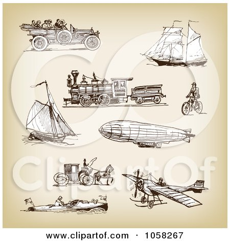 Royalty-Free Vector Clip Art Illustration of a Digital Collage Of Brown Sketches Of Transportation - 2 by Eugene
