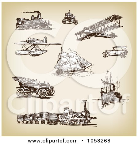 Royalty-Free Vector Clip Art Illustration of a Digital Collage Of Brown Sketches Of Transportation - 3 by Eugene