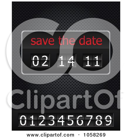 Royalty-Free Vector Clip Art Illustration of A Save The Date Ticker With Numbers, On A Black Grid by Eugene
