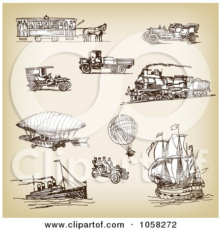 Royalty-Free Vector Clip Art Illustration of a Digital Collage Of Brown Sketches Of Transportation - 1 by Eugene