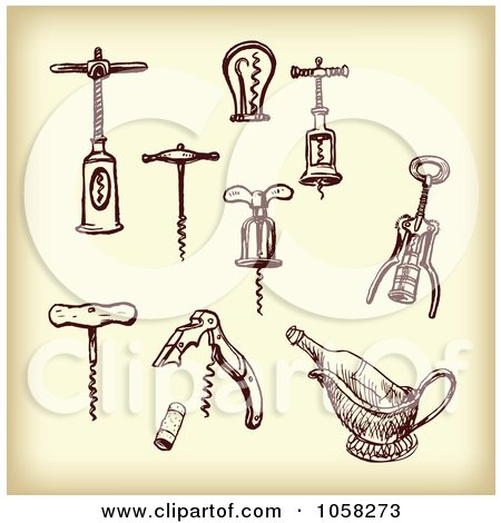 Royalty-Free Vector Clip Art Illustration of a Digital Collage Of Brown Sketches Of Cork Screws - 3 by Eugene