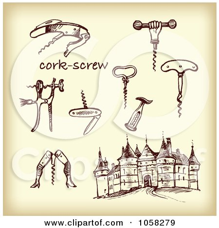 Royalty-Free Vector Clip Art Illustration of a Digital Collage Of Brown Sketches Of Cork Screws - 1 by Eugene