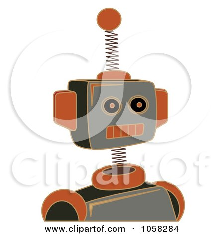 Royalty-Free Vector Clip Art Illustration of a Springy Gray And Orange Robot by mheld