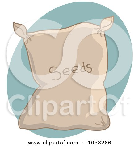 Royalty-Free Vector Clip Art Illustration of a Sack Of Garden Seeds Over A Blue Oval by Pams Clipart